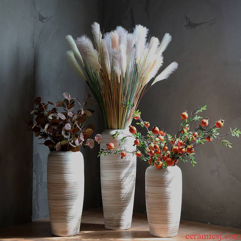 I and contracted sitting room ceramic dry flower ceramic flower arranging big ground vase Nordic ins furnishing articles coarse pottery restoring ancient ways