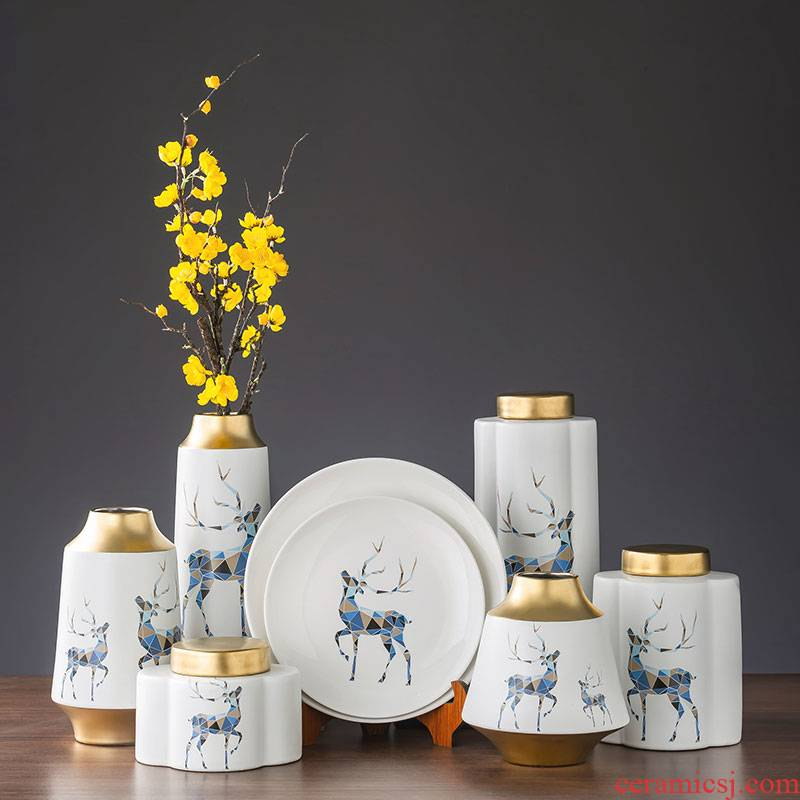 Vase furnishing articles sitting room flower arranging sika deer household furnishings jingdezhen Nordic creative contracted wind desktop ornaments