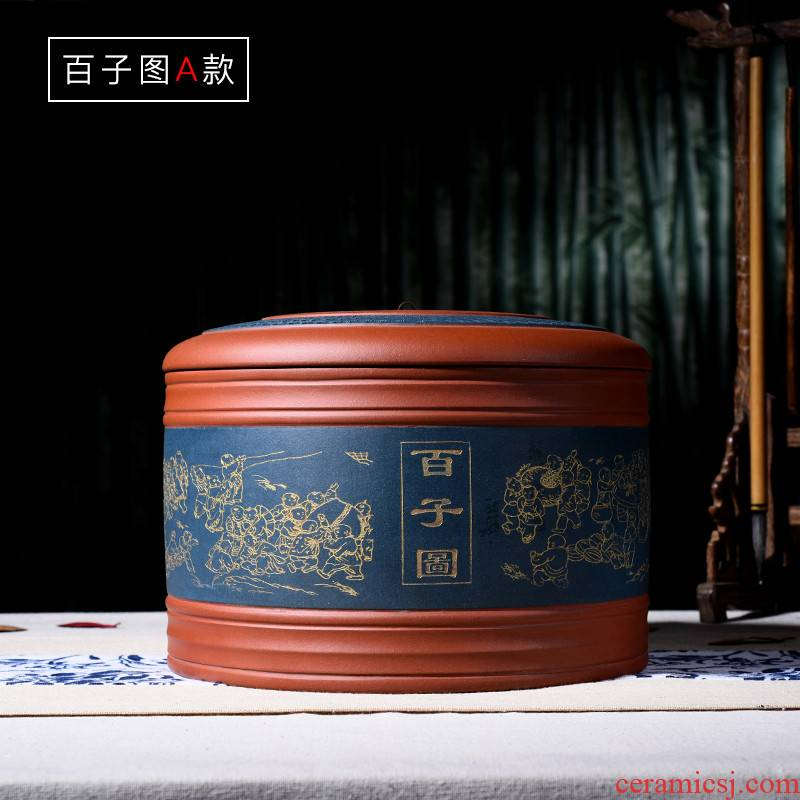Shadow enjoy new yixing purple sand tea pot large abital figure GF bread puer tea cylinder seal up the ancient philosophers
