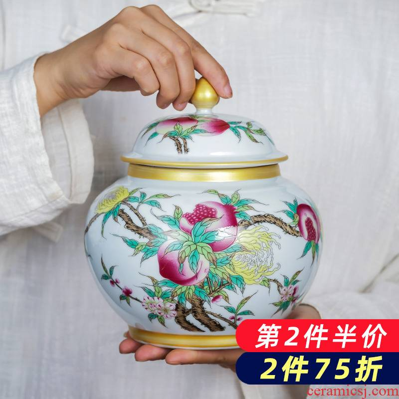 Jingdezhen ceramics small caddy fixings see colour enamel loose tea storage tanks with cover half jins to wake tea pot