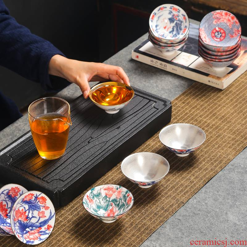Kung fu small tea cups of blue and white porcelain ceramic tea tea light the lamp that suits for a single master perfectly playable cup bowl sample tea cup