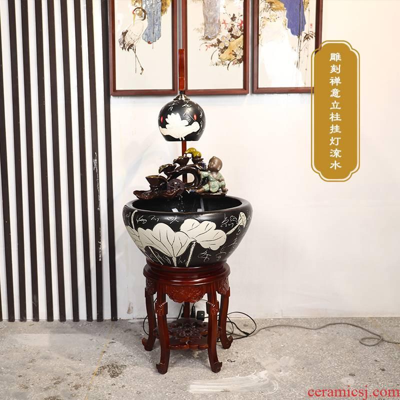 Oversized with lamp jingdezhen ceramic aquarium fish basin to circulating water turtle cylinder goldfish bowl lotus