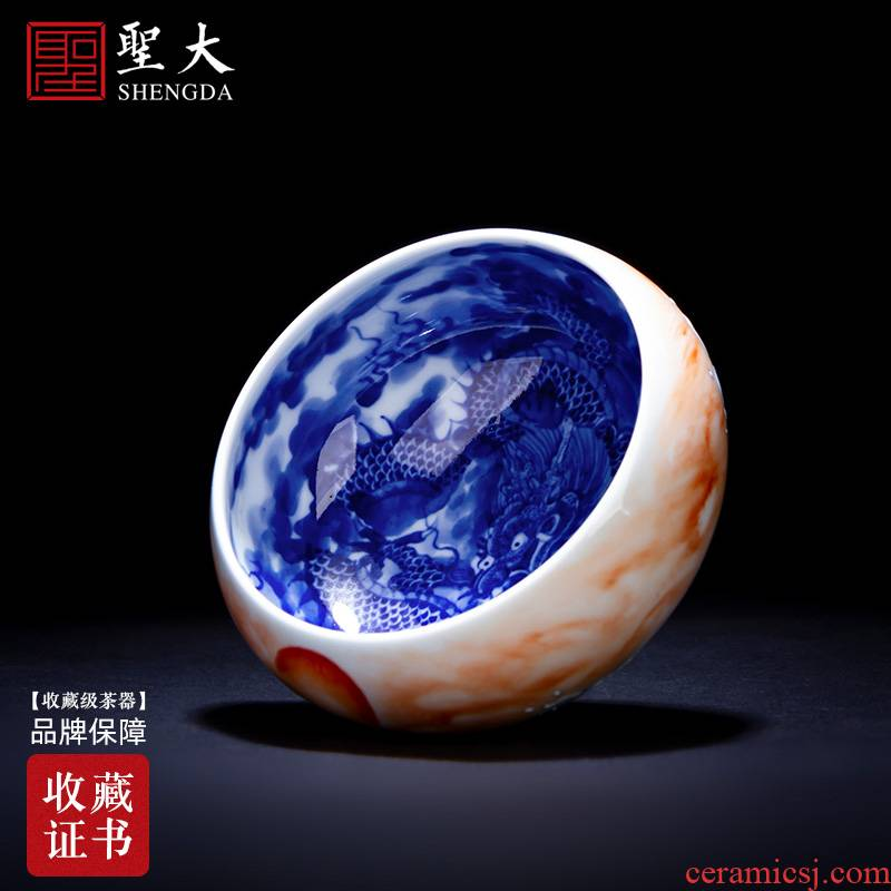 The big blue and white, blue and red color ceramic master kung fu tea cup longteng harmony cup of east China jingdezhen tea by hand