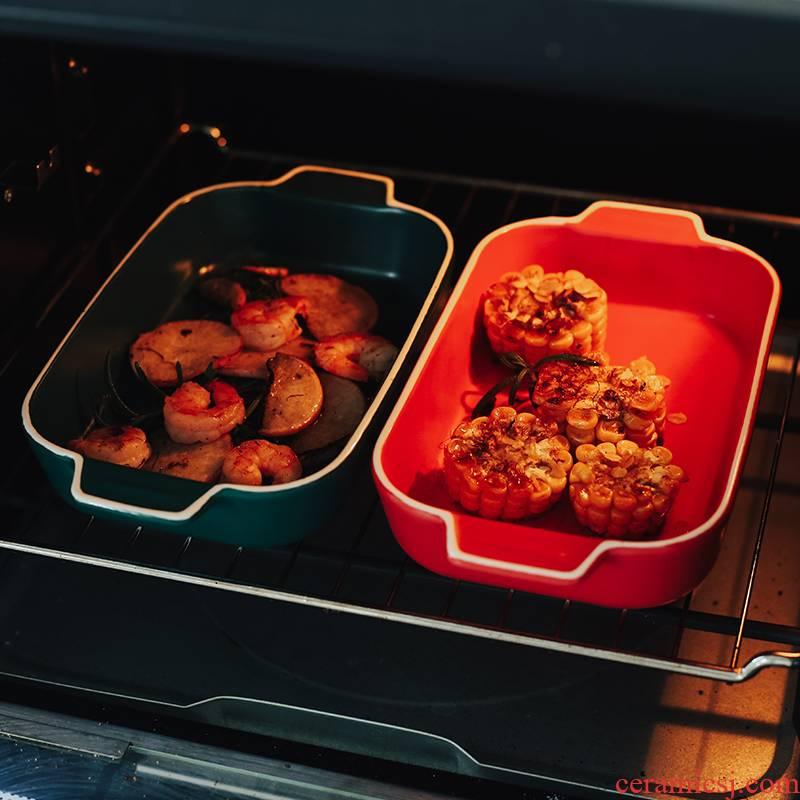 Ceramic ears for jobs rectangle baking bowl lasagna baking pan household microwave oven baking pan