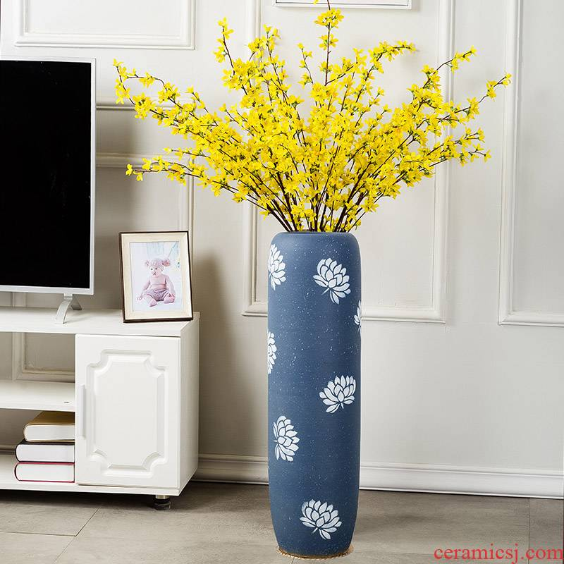 Jingdezhen gagarin 】 【 creative dry flower is placed large sitting room ground vase I and contracted Europe type arranging flowers