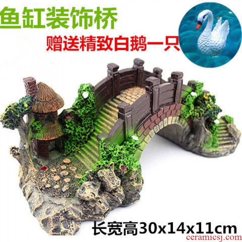 Resin landscape water stone Bridges ceramic bridge landscape bonsai rockery stone waterfall water decorative furnishing articles