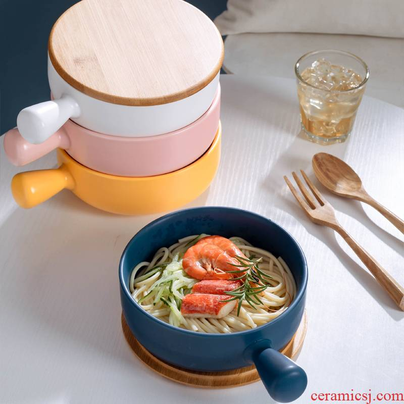 Nordic single ceramic bowl individuality creative home beautiful rainbow such as bowl plate tableware suit Japanese web celebrity ins wind