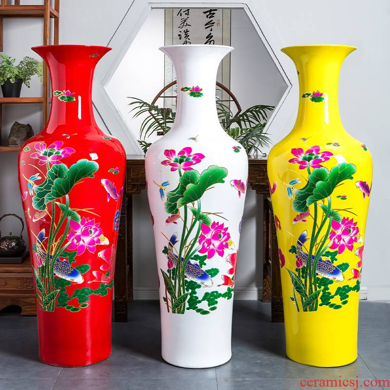 Jingdezhen porcelain ceramic Chinese red every year more than landing large vases, sitting room of Chinese style household decorative furnishing articles