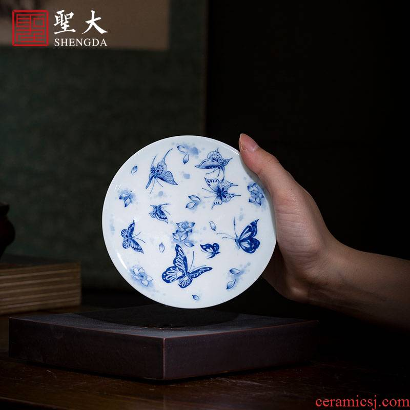 Holy big ceramic cover place jingdezhen blue and white tree lost its flying butterfly tattoo saucer hand - made all hand kung fu tea set spare parts