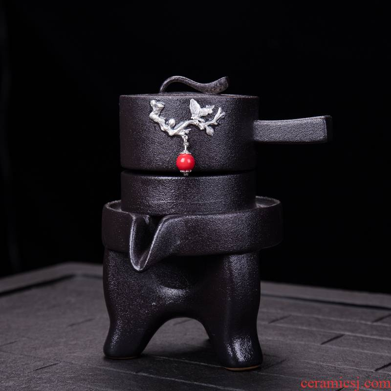The semi - automatic lazy tea set small household violet arenaceous stone mill kung fu tea accessories ceramic pot of tea an artifact