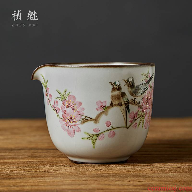 Shot incarnate your up hand - made peach blossom put water point large jingdezhen ceramic fair keller kunfu tea tea accessories points