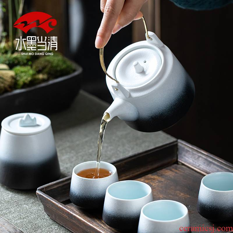 Japanese coarse pottery girder pot a pot of four cups of restoring ancient ways household kung fu tea set ceramic teapot teacup gift boxes