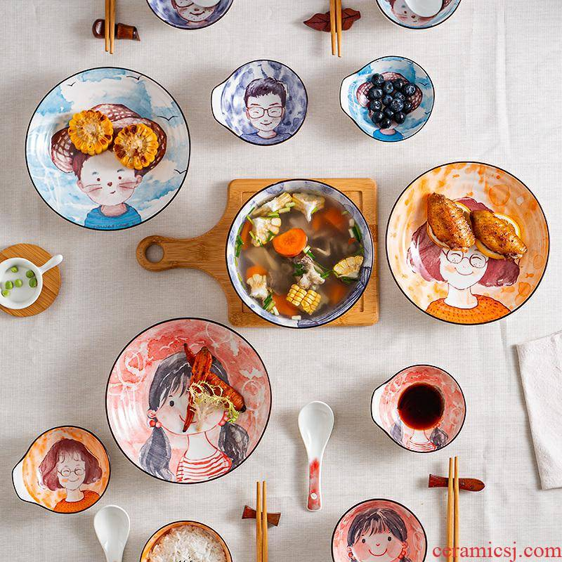 Lovely ceramic parent - child cartoon dishes suit household creative children a family of four dishes chopsticks tableware portfolio