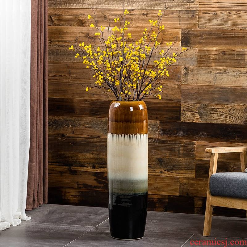Jingdezhen up floor vase large household, sitting room adornment flower arranging high I and contracted style porch place