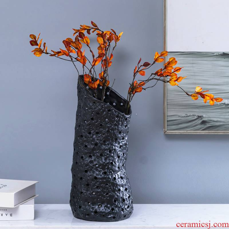 Aquamarine ceramic vase modern minimalist living room dry flower flower arranging flower implement Chinese style table surface home furnishing articles of art