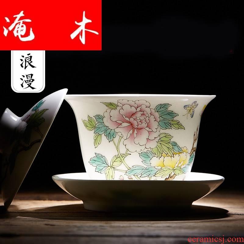 Submerged wood jingdezhen hand - made pastel peony large three to kung fu tea tea cup high - grade mercifully tureen ceramics