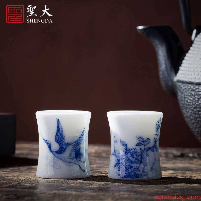 The big buy blue and white bamboo GaiWanCha hand - made ceramic cover lid all hand jingdezhen kung fu tea accessories