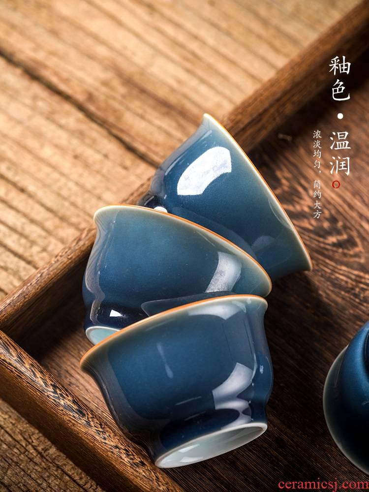 Jingdezhen ji the qing checking high - end single ceramic cup kongfu master cup single cup tea tea set gift box