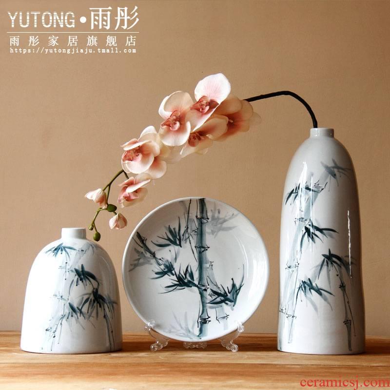 Jingdezhen ceramic vase furnishing articles hand - made desktop household water raise flowers, dried flowers, flower arrangement sitting room hang dish ornaments