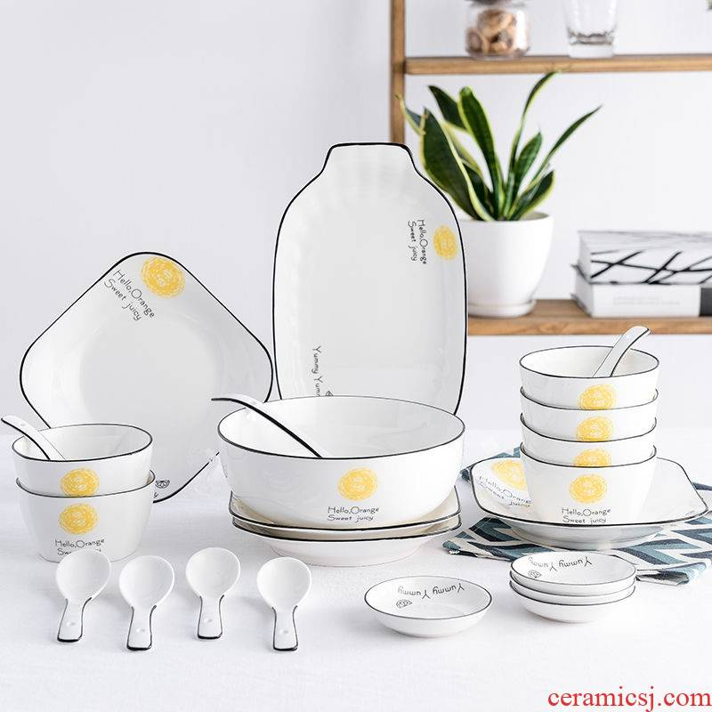 The kitchen dishes suit household contracted for four northern Japanese use chopsticks plate combination ceramic tableware for dinner