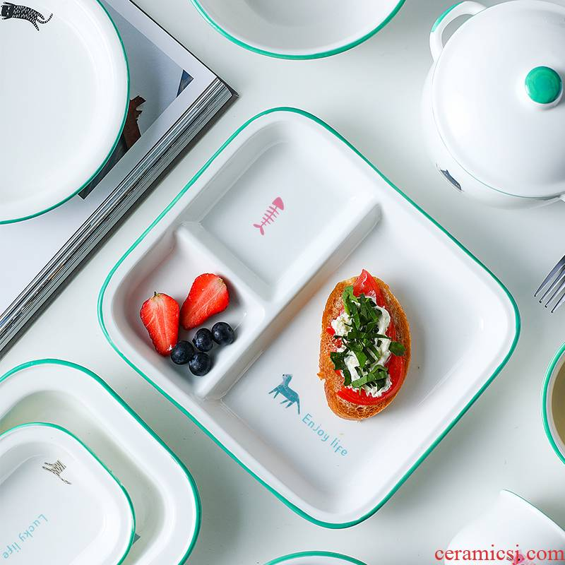 Japanese style restoring ancient ways of imitation enamel to use ceramic tableware tableware housewares individuality creative ins dishes suit