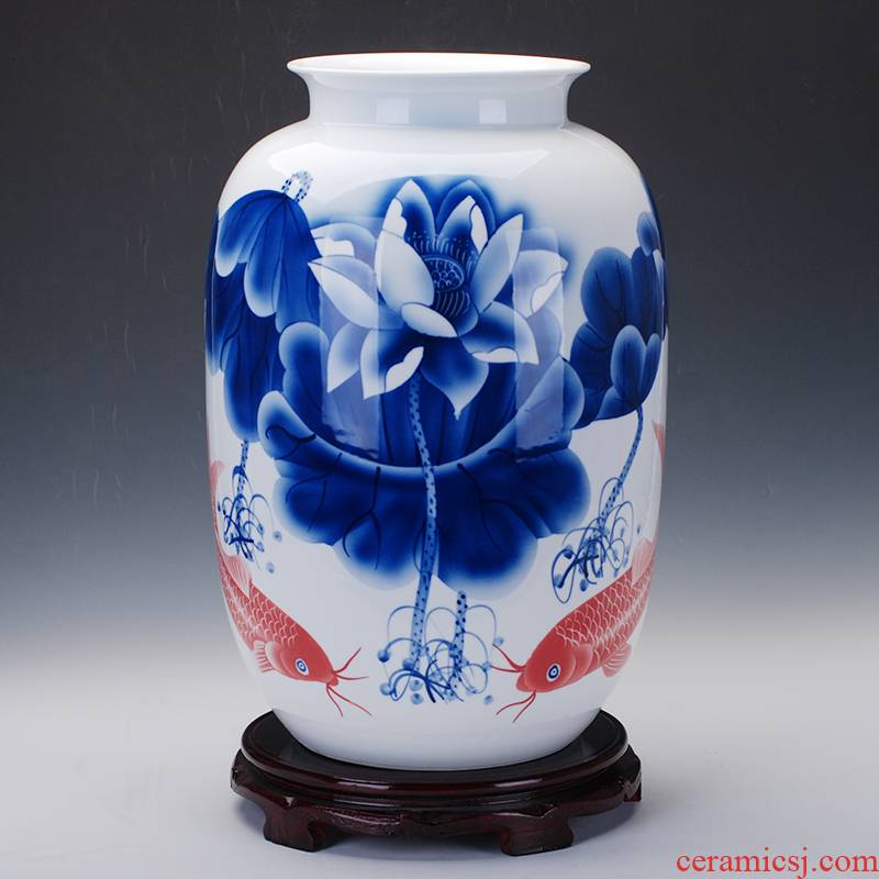 242 hand - made of jingdezhen ceramics glaze color lotus fish blue and white porcelain vases, famous masterpiece collection certificate