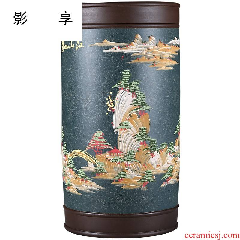 Shadow at 25 cake large pu 'er violet arenaceous caddy fixings household carved by hand draw bigger sizes tea urn sealed container jar the the ZLS (central authority (central authority