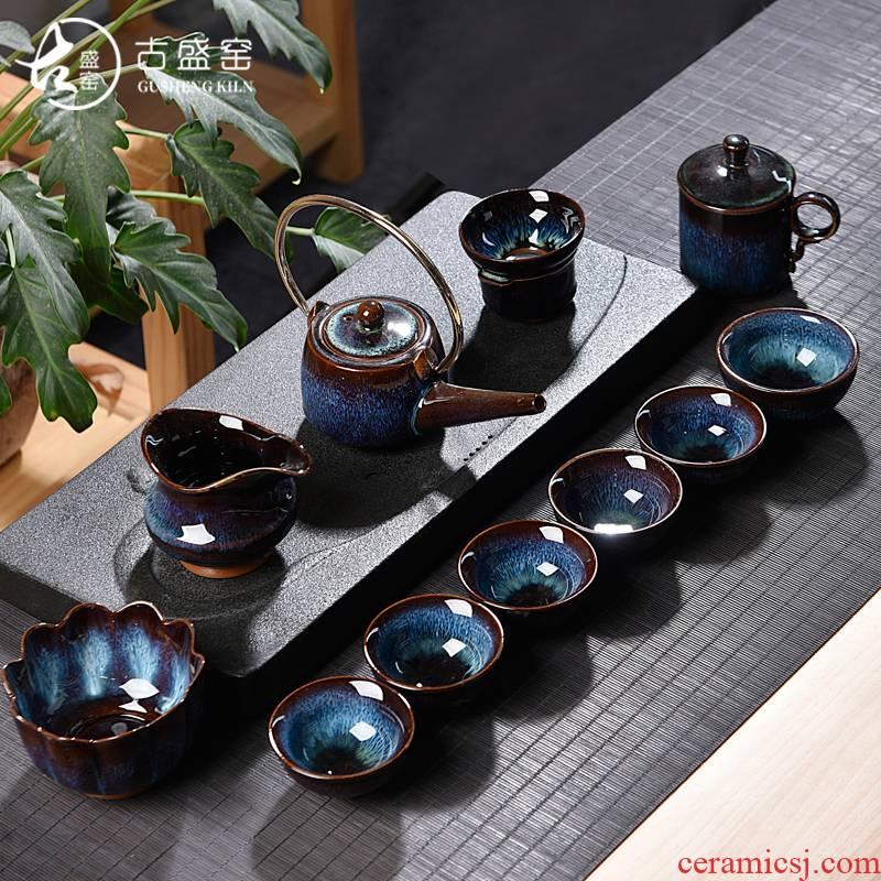 Ancient jun sheng jin jun porcelain up household suit tea cups furnace manual variable set of tea set masterpieces