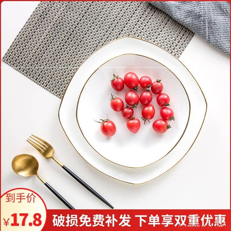 European style up phnom penh ipads porcelain household square soup plate flat plate creative fish steak dish food dish plate of jingdezhen tableware