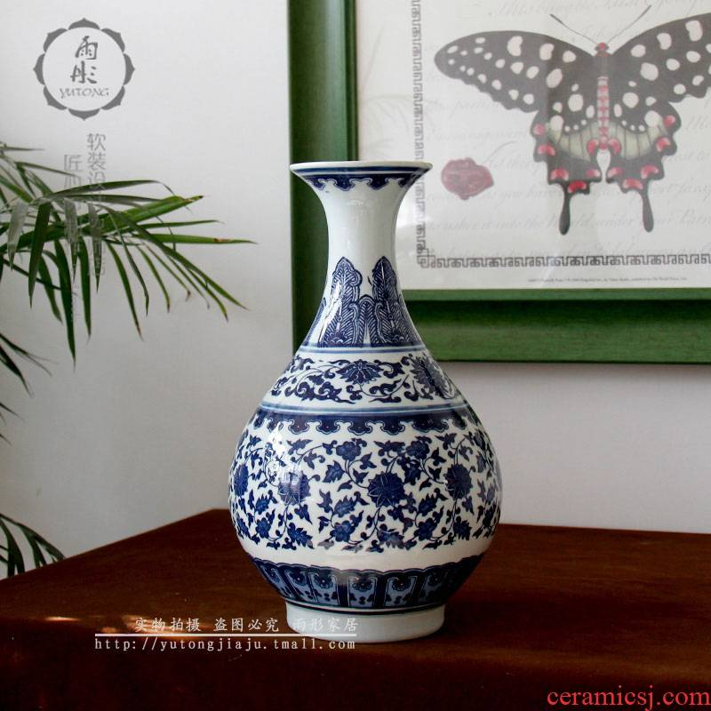 Jingdezhen blue and white porcelain vase furnishing articles sitting room TV ark, flowers lily flower arranging grain dry flower simulation flower small expressions using