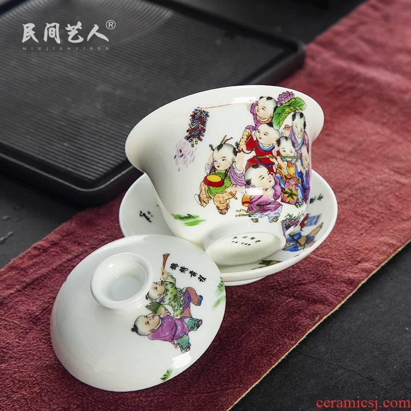 Jingdezhen tureen large cups in white tea bowl three tureen famille rose porcelain household kung fu tea cup