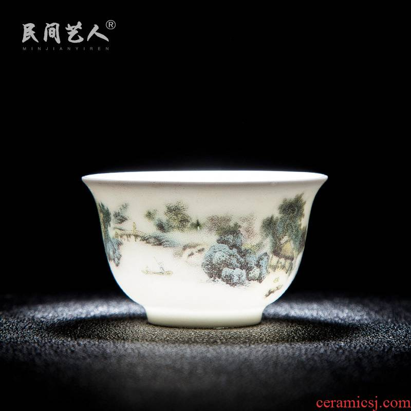 Jingdezhen ceramic sample tea cup on glaze color green landscape master cup personal cup bowl kung fu tea cup
