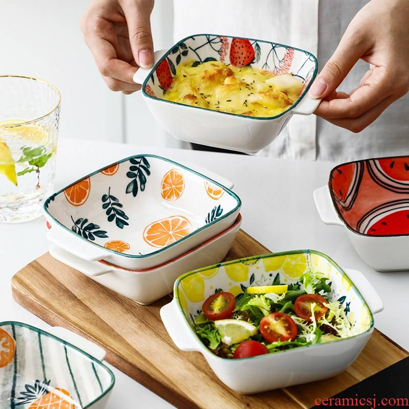 Europe and the United States household tableware deep creative dishes and dessert bowl of microwave oven dedicated square ceramic pan bake bowl bowl