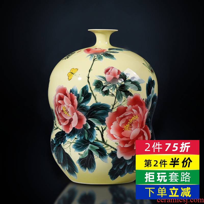 Jingdezhen ceramics masters hand made the vase peony gourd bottle place to live in the living room TV cabinet decoration