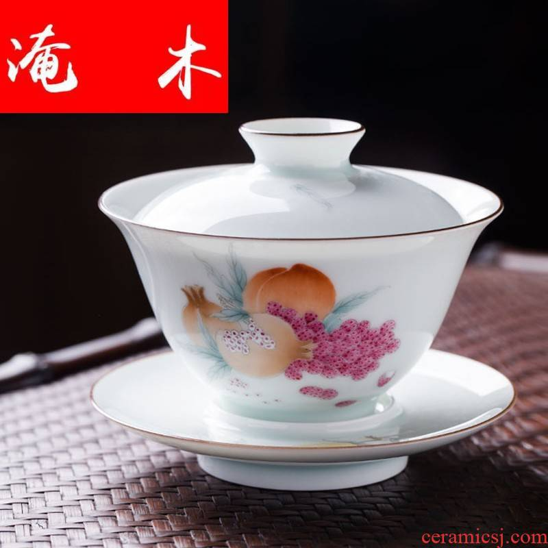 Flooded pastel hand - made wooden jingdezhen system thin foetus three photos to make tea tureen lid cup large bowl of ceramics