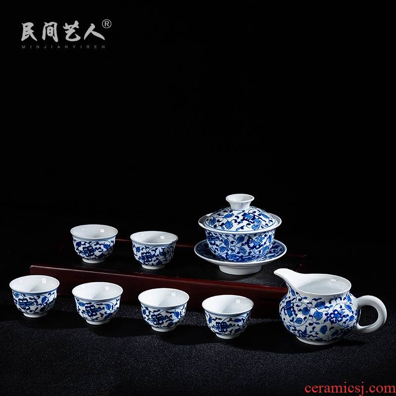 Jingdezhen blue and white porcelain kung fu tea set the whole set of 8 head hand - made household utensils tea tea