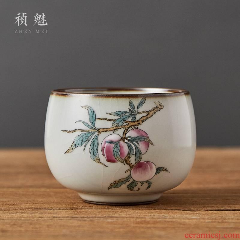 Shot incarnate your up hand - made peach meditation of jingdezhen ceramic kung fu tea set sample tea cup master cup personal single CPU