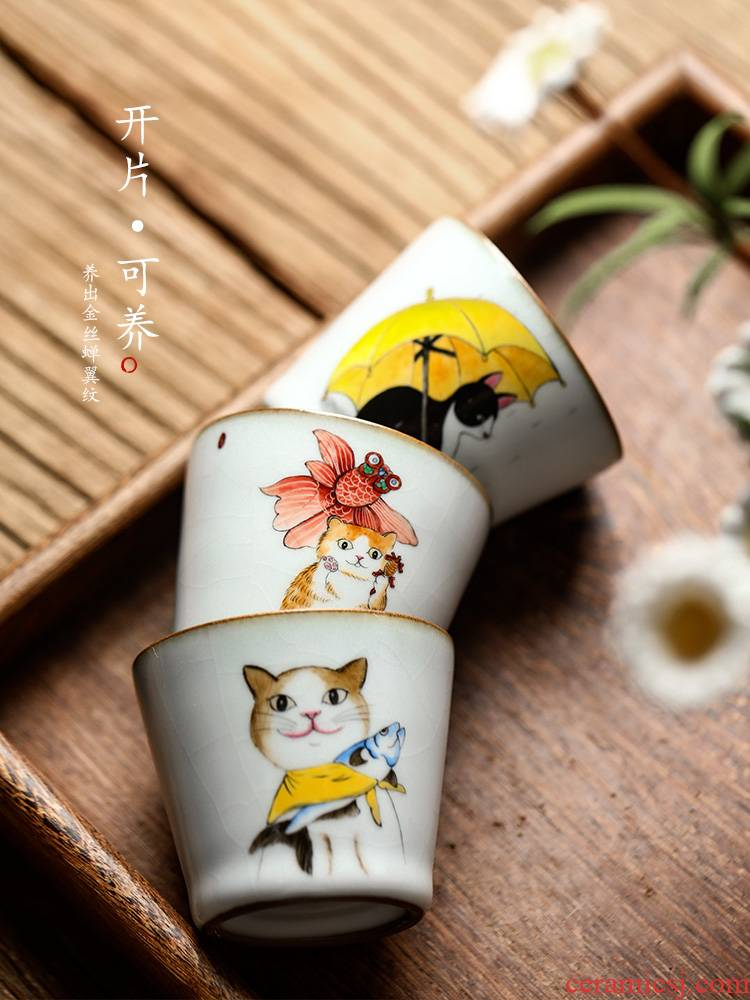 Master cup your up sample tea cup cup of jingdezhen ceramic kung fu tea cups, pure hand - made cat is hand - made tea tea set