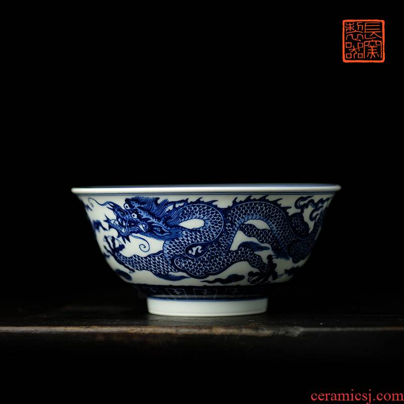 Long up jack offered home - cooked hand - made jingdezhen blue and white longfeng bowls in pure manual archaize ceramic tableware furnishing articles