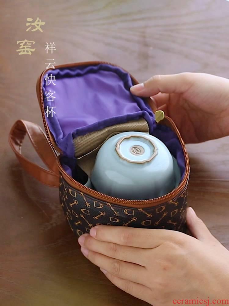 Your up crack cup a pot of 2 CPU use portable travel jingdezhen ceramic kung fu tea set cup teapot