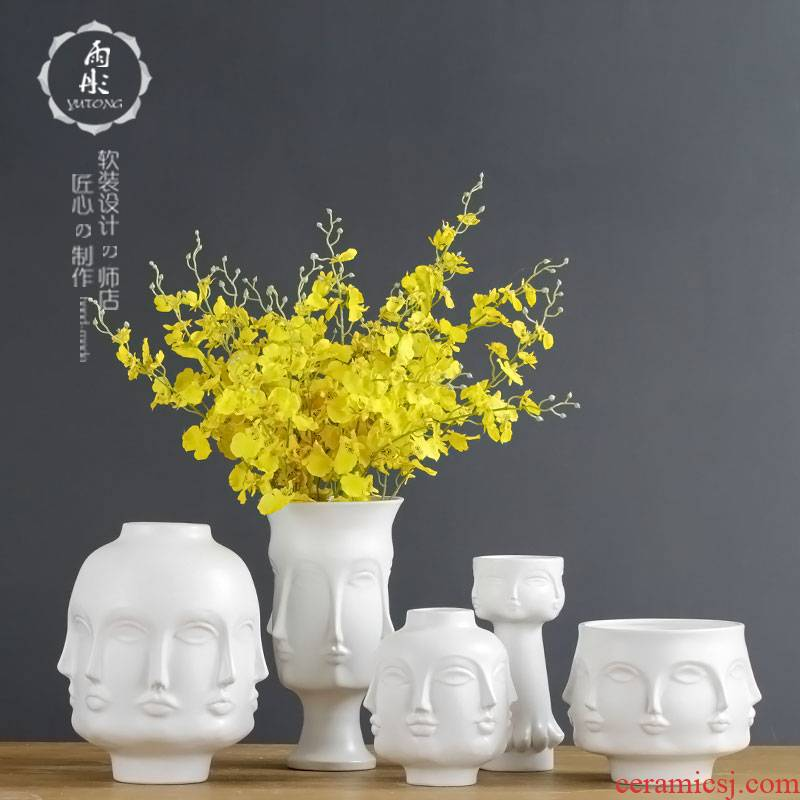 Contracted creative trend face ceramic flower furnishing articles household soft adornment between example sitting room decoration