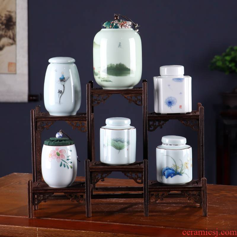 Caddy fixings move household ceramic sealed jar jar tea box storehouse travel portable pu 'er tea storage tank