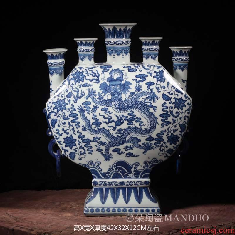 Jingdezhen blue and white dragon hand - made five Kong Bian porous porcelain ceramic pot candles bouquet Chinese fish dishes porcelain vase