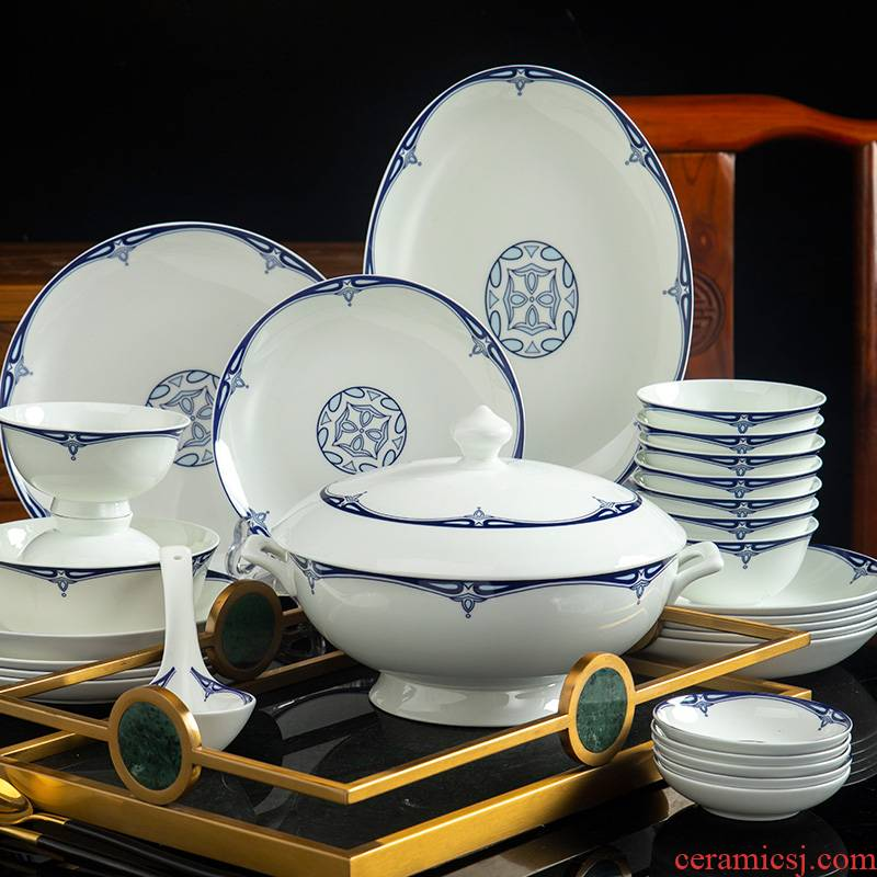 Glair ceramic tableware of Chinese blue and white porcelain bowl chopsticks dishes to eat bread and butter of jingdezhen ceramic dishes suit household