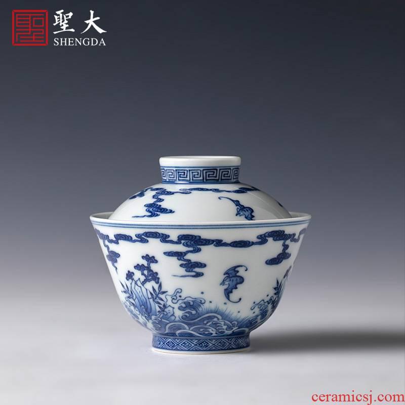 St large ceramic three tureen pure hand - made porcelain fukuyama ShouHai grain tureen tea bowl of jingdezhen tea service by hand