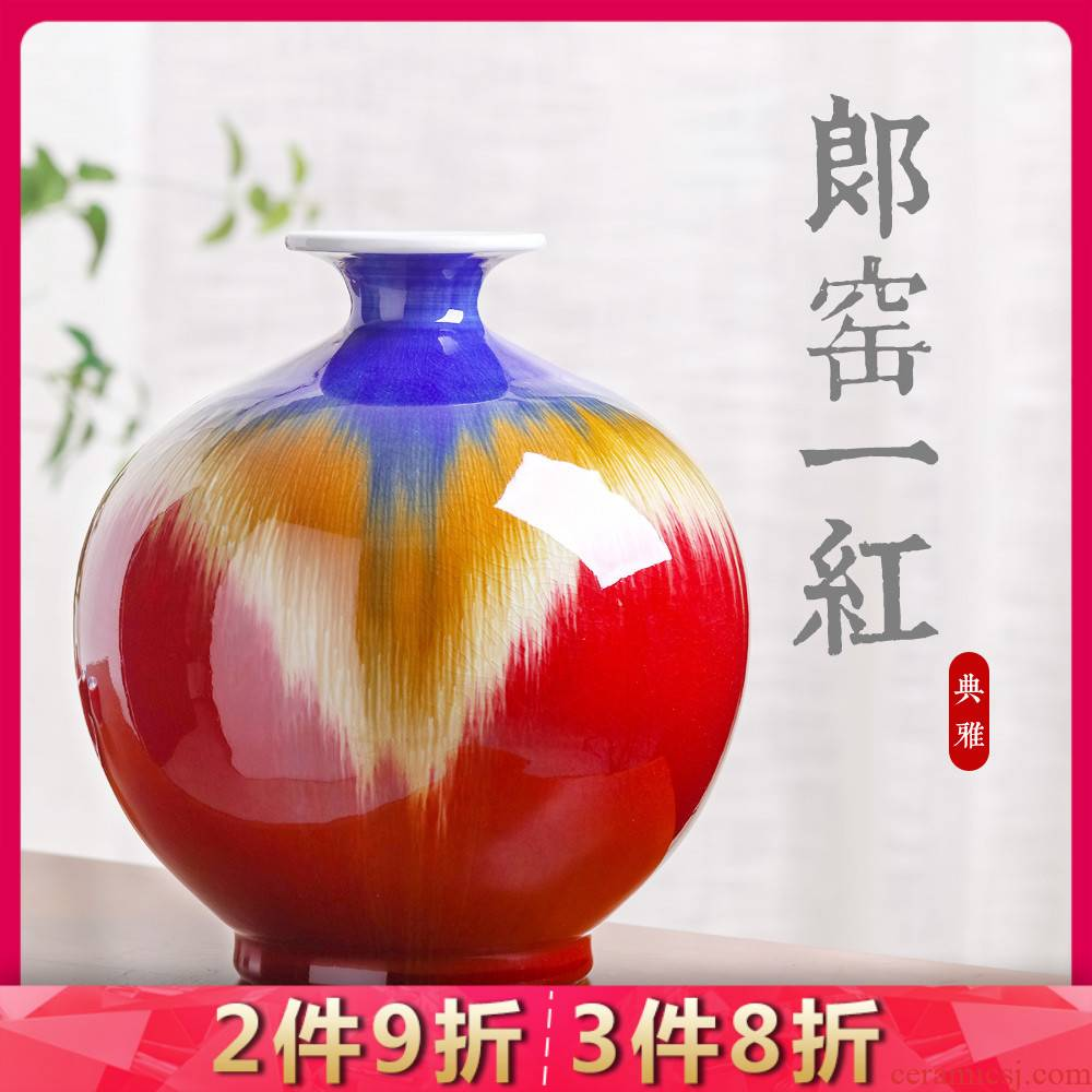 Jingdezhen ceramics ruby red glaze antique vase home sitting room TV ark adornment style rich ancient frame furnishing articles