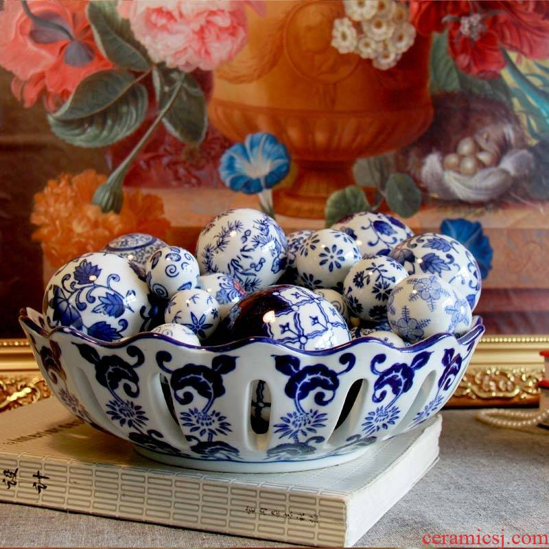 Ceramic decoration furnishing articles float ball & ndash; - Blue and white porcelain ball jingdezhen Blue and white porcelain ceramics furnishing articles