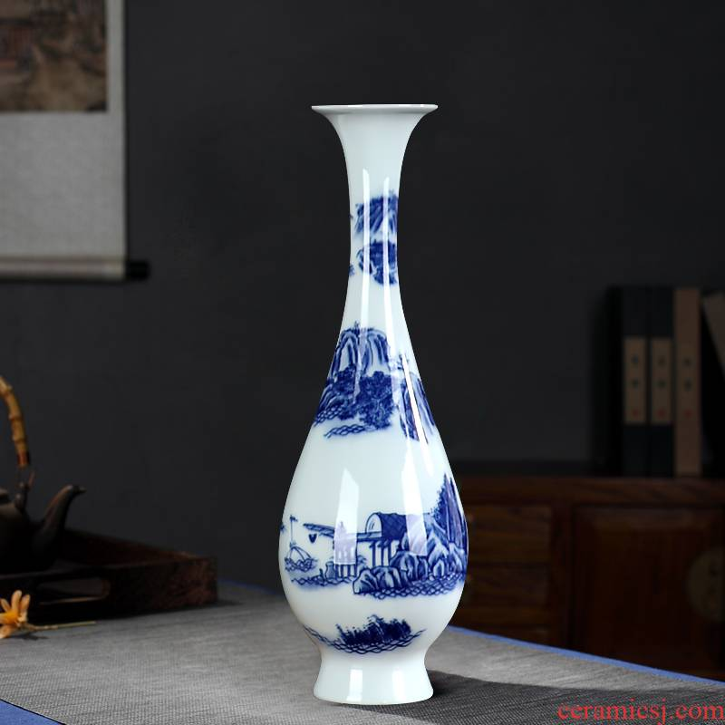 Blue and white porcelain vase furnishing articles sitting room flower arranging contracted and I high model of archaize of jingdezhen ceramics craft ornaments