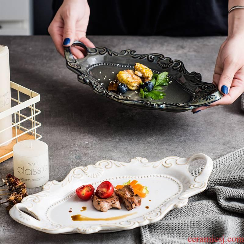 Northern wind restoring ancient ways ins embossed flat ins ceramic tableware soup plate household elliptical plate beefsteak plates