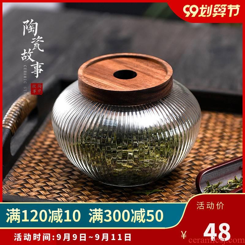 Ceramic story Japanese tea pot pu 'er tea pot metal tea warehouse transparent big seal tank storage receive jar